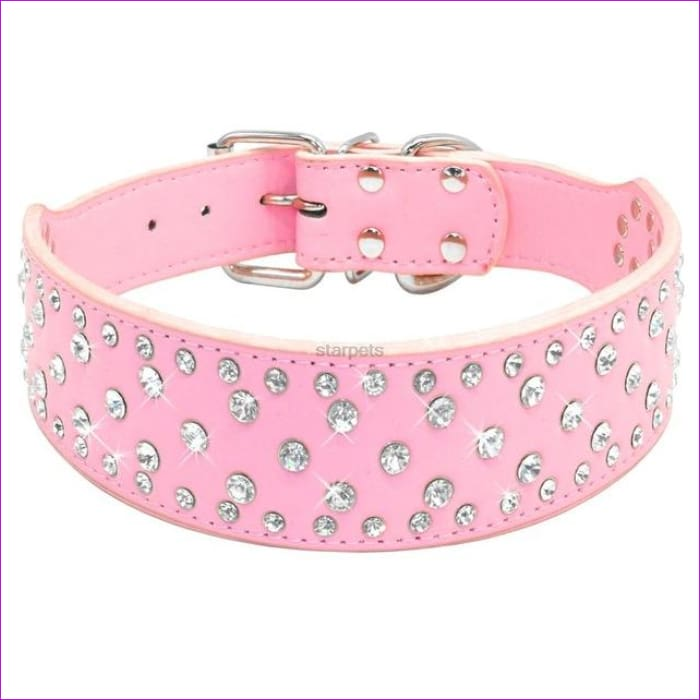Fashion Jeweled Rhinestones Pet Dog Collars Sparkly Crystal Diamonds Studded PU Leather Collar For Medium & Large Dogs Pitbull - Pink / S -