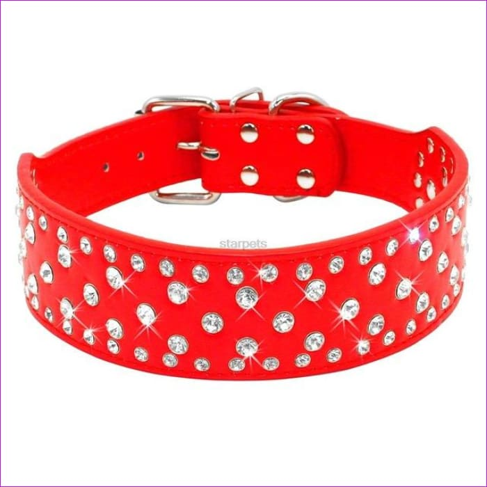 Fashion Jeweled Rhinestones Pet Dog Collars Sparkly Crystal Diamonds Studded PU Leather Collar For Medium & Large Dogs Pitbull - Red / S -