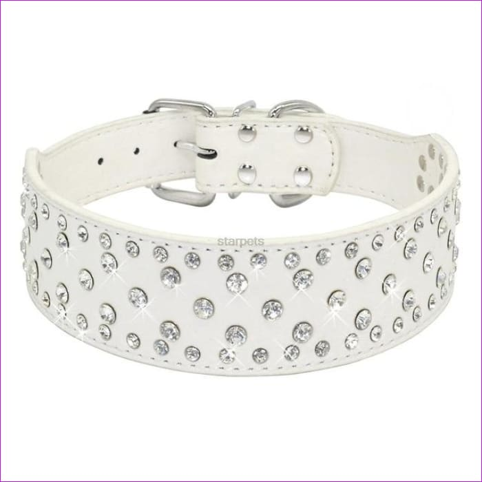 Fashion Jeweled Rhinestones Pet Dog Collars Sparkly Crystal Diamonds Studded PU Leather Collar For Medium & Large Dogs Pitbull - White / S -