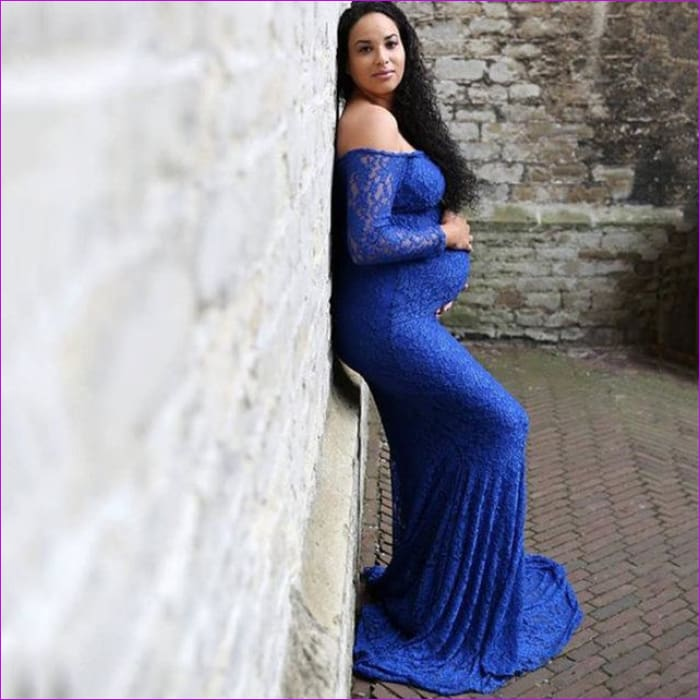 Fashion Maternity Dress for Photo Shoot Maxi Maternity Gown Shoulderless Lace Fancy Sexy Women Maternity Photography Props - Blue / XL -