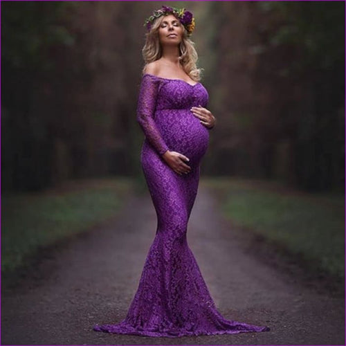 Fashion Maternity Dress for Photo Shoot Maxi Maternity Gown Shoulderless Lace Fancy Sexy Women Maternity Photography Props - Maternity