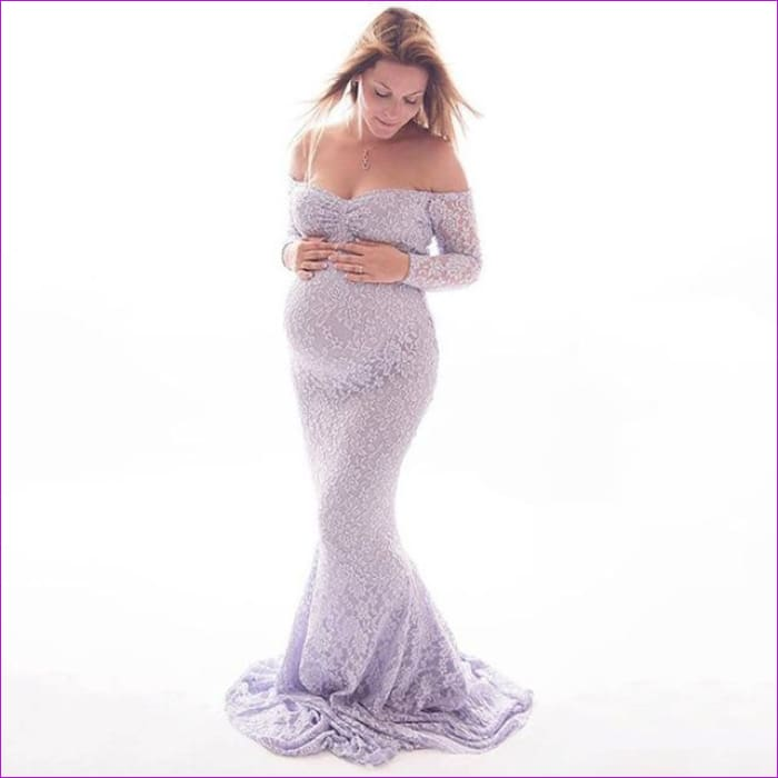 Fashion Maternity Dress for Photo Shoot Maxi Maternity Gown Shoulderless Lace Fancy Sexy Women Maternity Photography Props - Lavender / XL -
