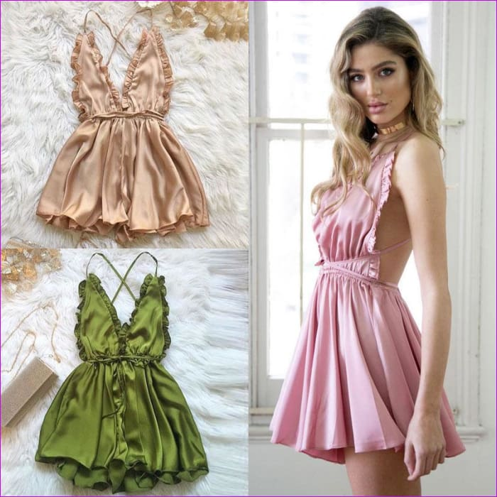 Fashion Women Sexy Sleepwear Style Rompers Clubwear Sexy Spaghetti Strap V-Neck Playsuit 3 color Women Nightgowns - Sleep Wear