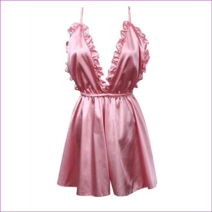 Fashion Women Sexy Sleepwear Style Rompers Clubwear Sexy Spaghetti Strap V-Neck Playsuit 3 color Women Nightgowns - Pink / S - Sleep Wear