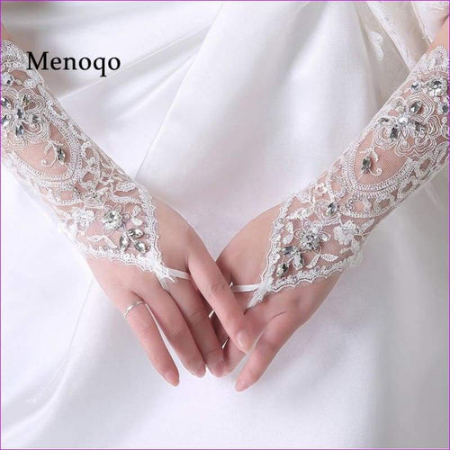 Fingerless Beaded wedding gloves Bridal wedding accessories - Bridal Gloves