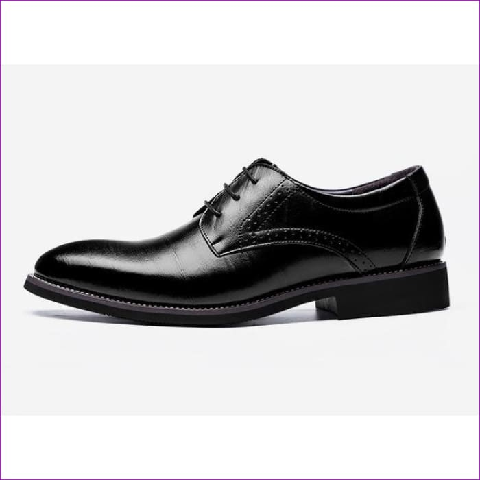 Flat Classic Men Dress Shoes Genuine Leather Wingtip Carved Italian Formal Oxford Plus Size 38-48 - Black / 6 - Mens Shoes cf-color-black