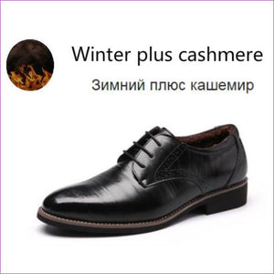 Flat Classic Men Dress Shoes Genuine Leather Wingtip Carved Italian Formal Oxford Plus Size 38-48 - Black for winter / 11 - Mens Shoes