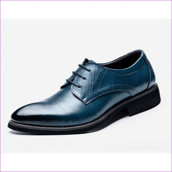 Flat Classic Men Dress Shoes Genuine Leather Wingtip Carved Italian Formal Oxford Plus Size 38-48 - Blue / 6 - Mens Shoes cf-color-black