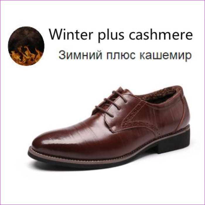 Flat Classic Men Dress Shoes Genuine Leather Wingtip Carved Italian Formal Oxford Plus Size 38-48 - Brown for winter / 11 - Mens Shoes
