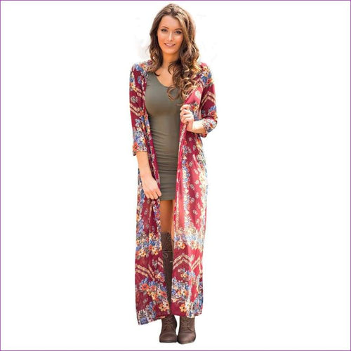 Floral Print Chiffon Beach Cover Up Loose Beachwear Top Cover up Shirt - Beach Cover Ups
