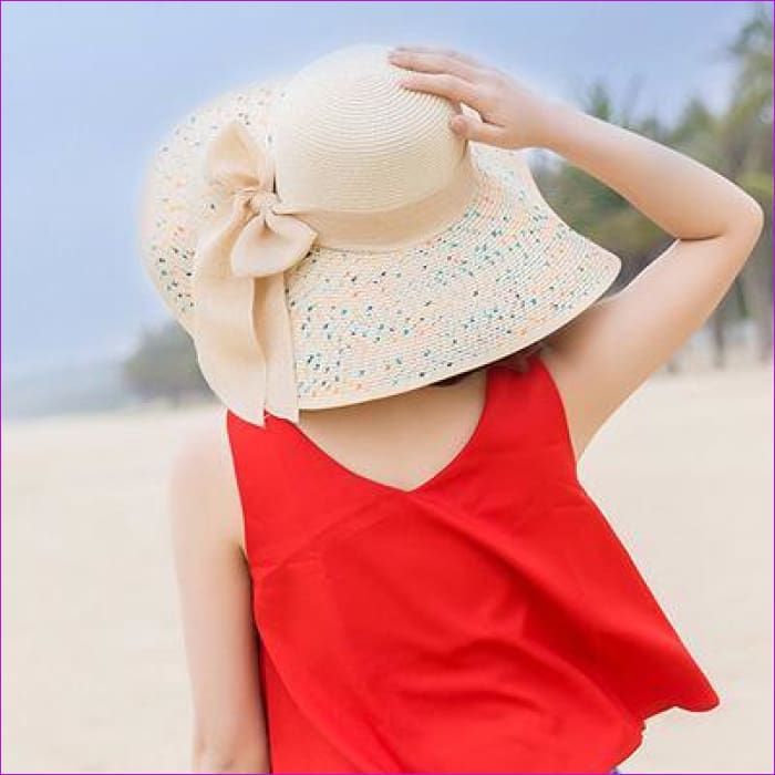 Foldable Chiffon Floppy Sun Hats Casual Ladies sombreros bowknot hat Ladies beach hats Caps - Beige - Beach Hats Beach Hats cf-color-beige