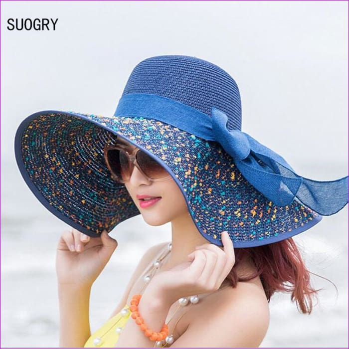 Foldable Chiffon Floppy Sun Hats Casual Ladies sombreros bowknot hat Ladies beach hats Caps - Beach Hats Beach Hats cf-color-beige