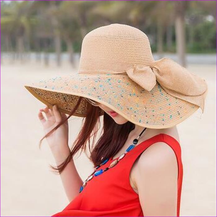 Foldable Chiffon Floppy Sun Hats Casual Ladies sombreros bowknot hat Ladies beach hats Caps - light coffee - Beach Hats Beach Hats