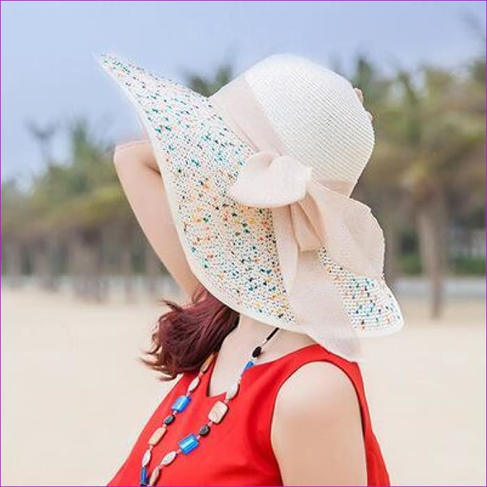 Foldable Chiffon Floppy Sun Hats Casual Ladies sombreros bowknot hat Ladies beach hats Caps - Milk white - Beach Hats Beach Hats