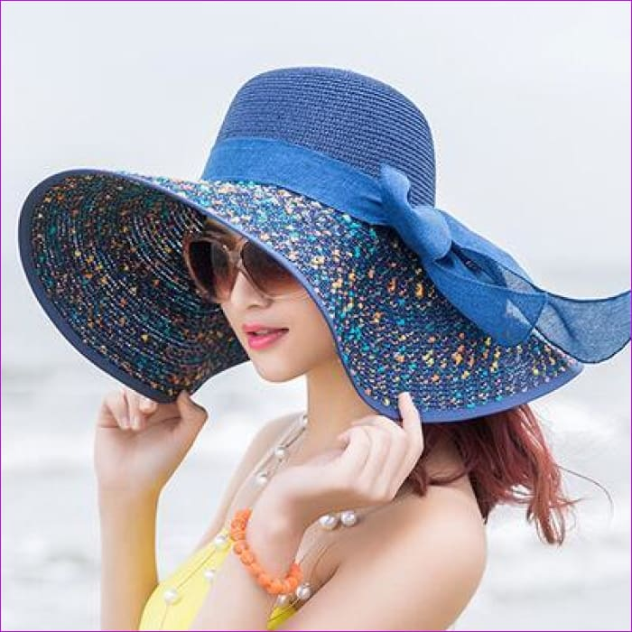 Foldable Chiffon Floppy Sun Hats Casual Ladies sombreros bowknot hat Ladies beach hats Caps - Navy blue - Beach Hats Beach Hats