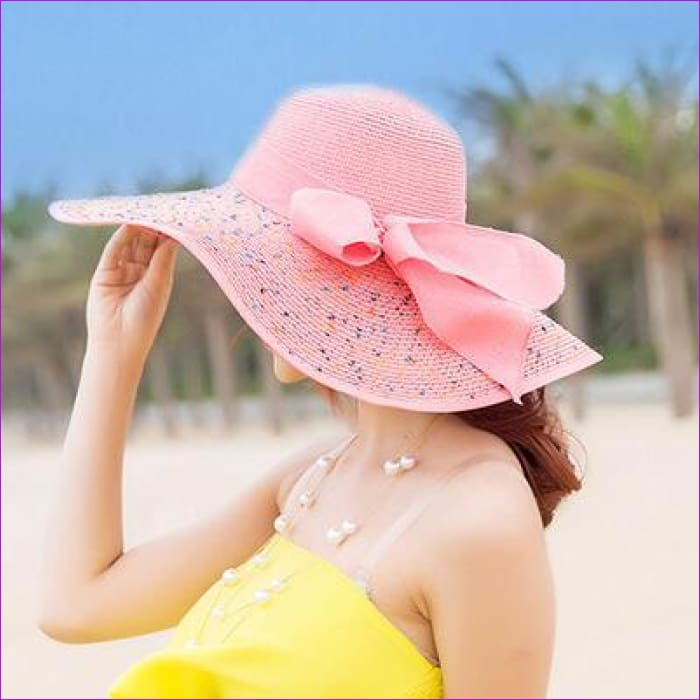 Foldable Chiffon Floppy Sun Hats Casual Ladies sombreros bowknot hat Ladies beach hats Caps - Pink - Beach Hats Beach Hats cf-color-beige