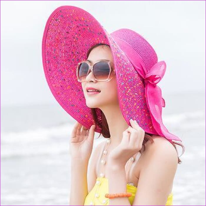 Foldable Chiffon Floppy Sun Hats Casual Ladies sombreros bowknot hat Ladies beach hats Caps - rose Red - Beach Hats Beach Hats