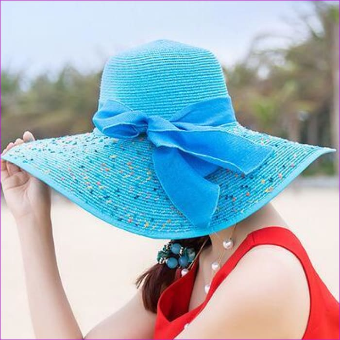 Foldable Chiffon Floppy Sun Hats Casual Ladies sombreros bowknot hat Ladies beach hats Caps - Sky blue - Beach Hats Beach Hats