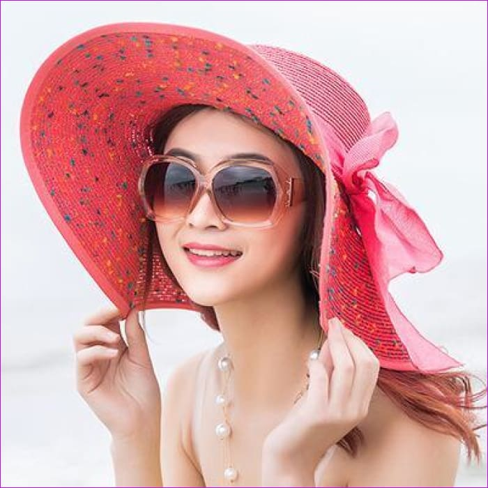 Foldable Chiffon Floppy Sun Hats Casual Ladies sombreros bowknot hat Ladies - Beach Hats Beach Hats cf-color-beige cf-color-light-coffee