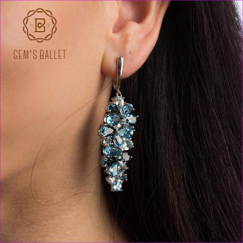 GEMS BALLET Natural London Blue Pure Topaz 925 sterling silver Drop Earrings Mix Gemstones Earrings Fashion Jewelry For Women - Earrings