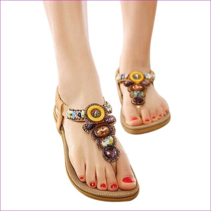 Gemstone Beaded Summer Beach Sandals Women Flip Flops Ladies Flat Sandals Shoes - Beige / 6 - Beach Sandals Beach Sandals cf-color-beige