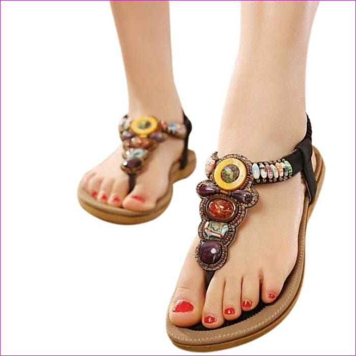 Gemstone Beaded Summer Beach Sandals Women Flip Flops Ladies Flat Sandals Shoes - Black / 6 - Beach Sandals Beach Sandals cf-color-beige