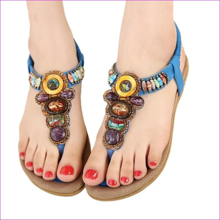 Gemstone Beaded Summer Beach Sandals Women Flip Flops Ladies Flat Sandals Shoes - Blue / 6 - Beach Sandals Beach Sandals cf-color-beige