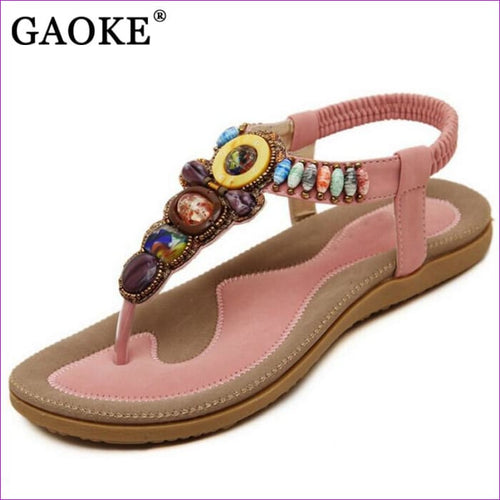 Gemstone Beaded Summer Beach Sandals Women Flip Flops Ladies Flat Sandals Shoes - Beach Sandals Beach Sandals cf-color-beige cf-color-black