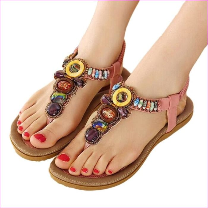 Gemstone Beaded Summer Beach Sandals Women Flip Flops Ladies Flat Sandals Shoes - Pink / 6 - Beach Sandals Beach Sandals cf-color-beige