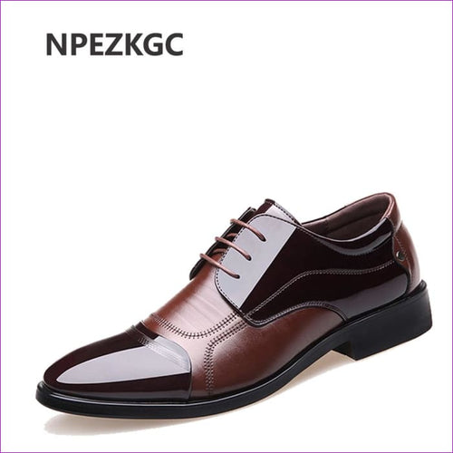Genuine Leather Men Oxford Shoes Lace Up Casual Business Men Wedding - Mens Shoes cf-color-black cf-color-brown Mens Shoes