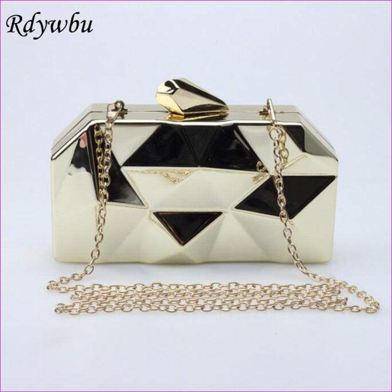 Geometric Metal Clutches Purse Bling Bag Gold - Silver - Black Chain Shoulder Bag - Purses