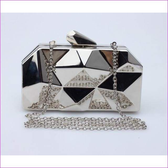 Geometric Metal Clutches Purse Bling Bag Gold - Silver - Black Chain Shoulder Bag - Silver - Purses
