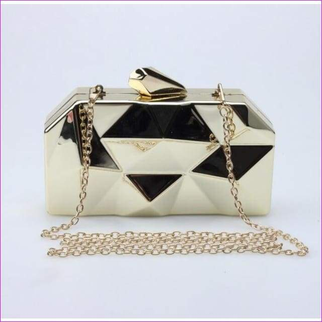 Geometric Metal Clutches Purse Bling Bag Gold - Silver - Black Chain Shoulder Bag - Gold - Purses
