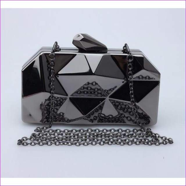 Geometric Metal Clutches Purse Bling Bag Gold - Silver - Black Chain Shoulder Bag - Black - Purses