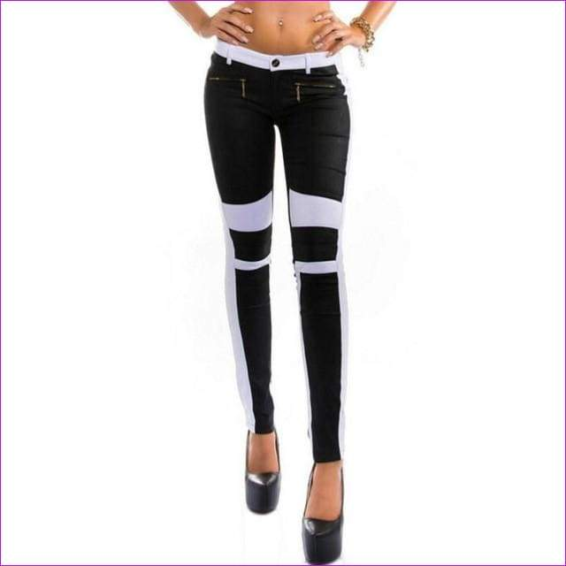 Girls Jeans Skinny Stretchy Zipper Fly Tights For Women Long Pants - Black / L - jean