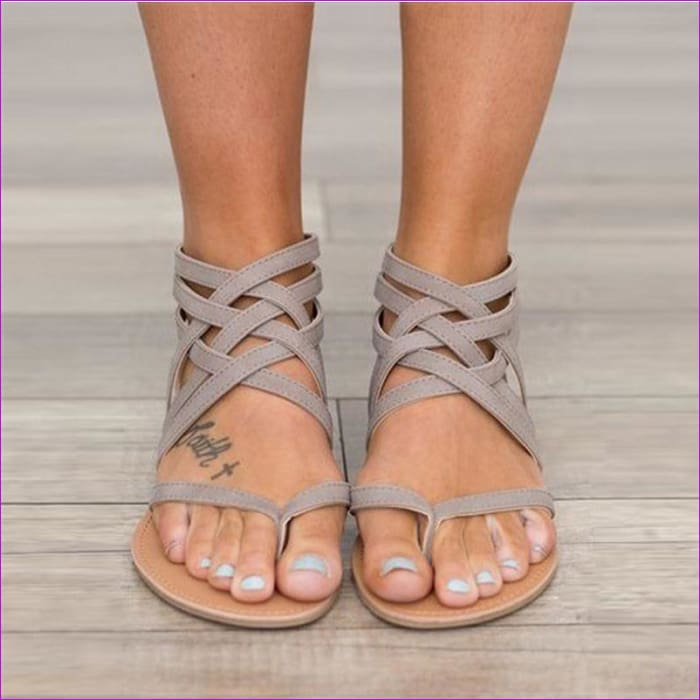 Gladiator Sandals For Women Rome Style Cross Tied Sandals Shoes Women - Sandals