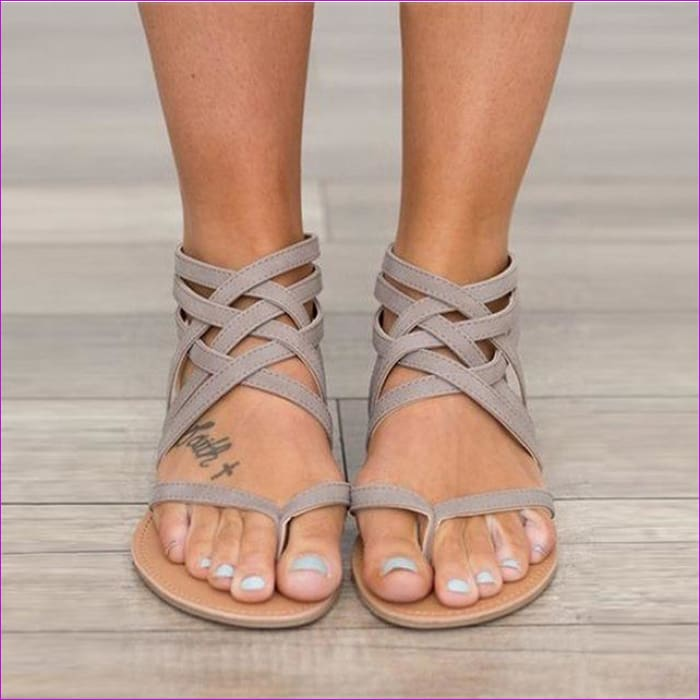 Gladiator Sandals For Women Rome Style Cross Tied Sandals Shoes Women - gray / 6 - Sandals