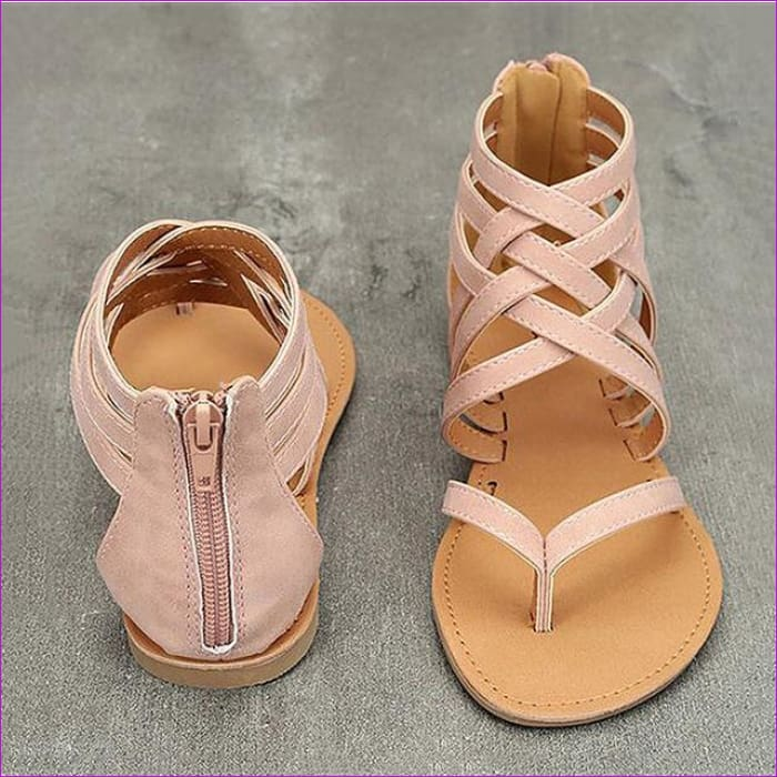 Gladiator Sandals For Women Rome Style Cross Tied Sandals Shoes Women - pink / 6 - Sandals