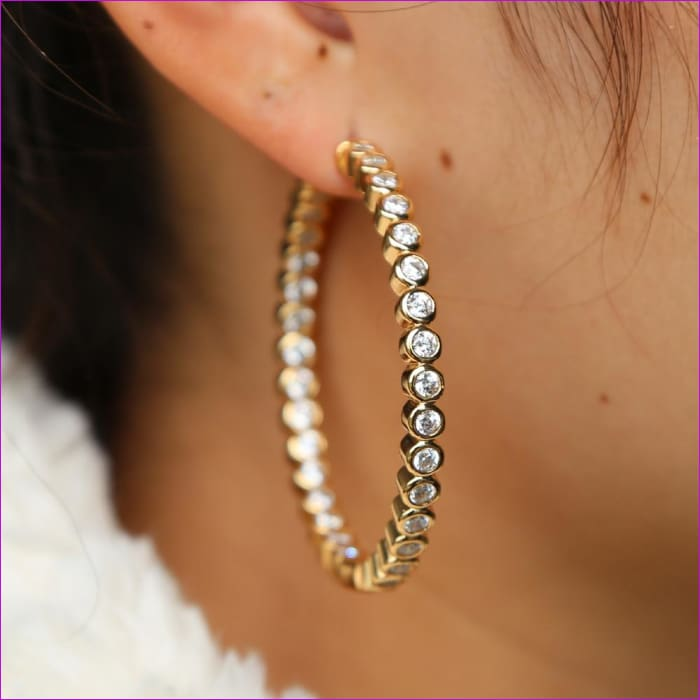 Gold Color High Polished 50MM 2 Hoop Earrings Paved with AAA Austrian CZ Cubic Zirconia - Earrings Earrings