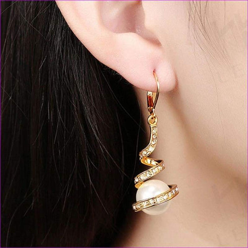Gold Plated Imitation Pearl Spiral Design Zircon Hoop Drop Earrings Jewelry - Drop Earrings