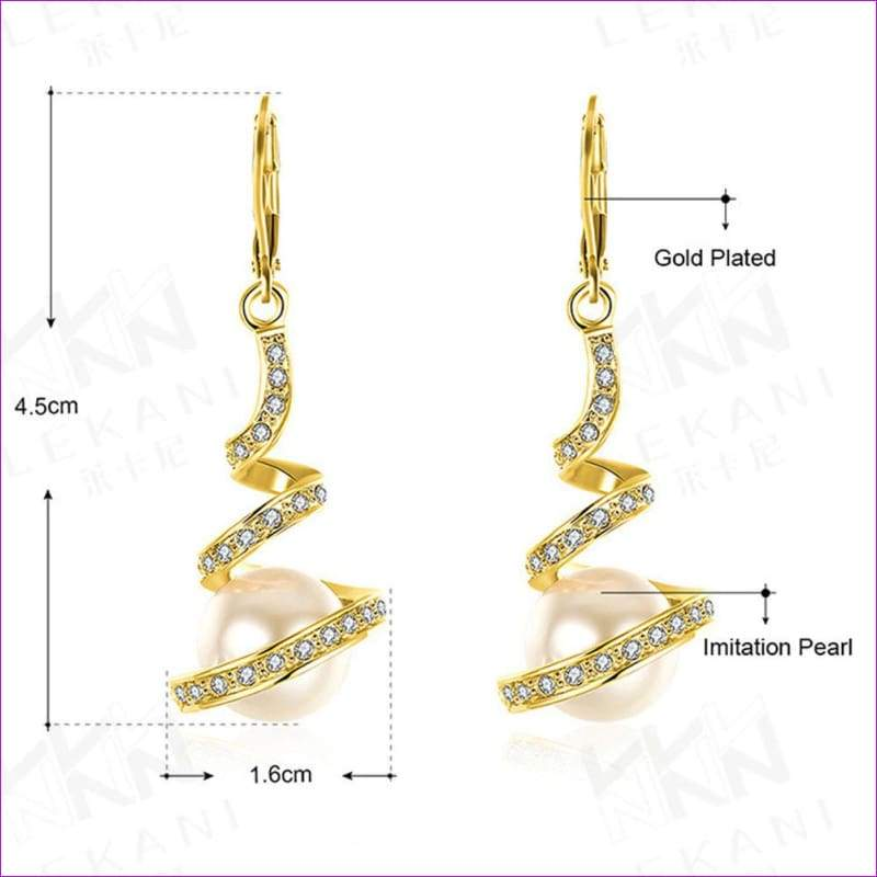 Gold Plated Imitation Pearl Spiral Design Zircon Hoop Drop Earrings Jewelry - Gold - Drop Earrings