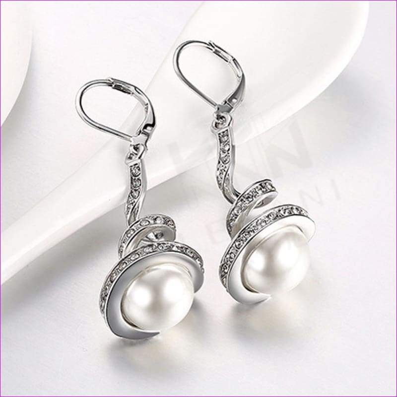 Gold Plated Imitation Pearl Spiral Design Zircon Hoop Drop Earrings Jewelry - White Gold - Drop Earrings