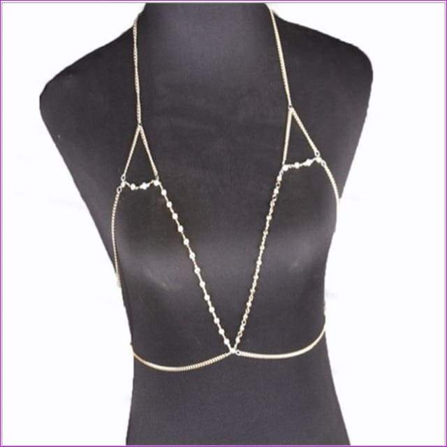 Gold Rhinestone Chains Jewelry Shiny Rhinestone Bra Chains Jewelry Sexy Bra Chains gold - Body chain - Bra Straps
