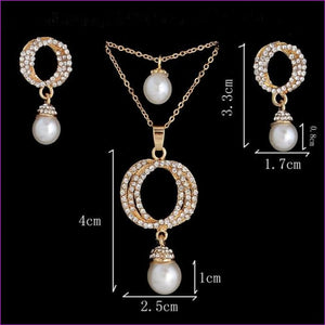 Golden Plated Jewelry Bridal Rhinestone Gem Set Opal Cats Eye Necklace Earrings - F392 - Jewelry Sets Jewelry Sets