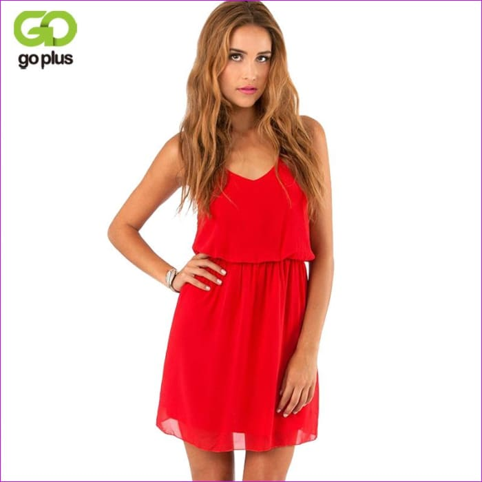 GOPLUS 2018 Summer Style Chiffon Party Dress Women Casual V neck Beach Dress Sleeveless Red Black Sweet Mini Dresses Plus Size - Beach