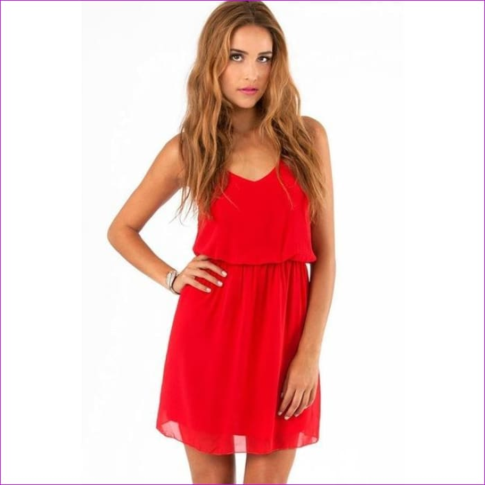 GOPLUS 2018 Summer Style Chiffon Party Dress Women Casual V neck Beach Dress Sleeveless Red Black Sweet Mini Dresses Plus Size - red / M -