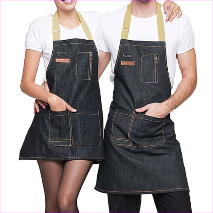 Halterneck BBQ Bib Home House Kitchen Coffee Shop Working Denim Apron w/2 Pouch - BBQ Cooking BBQ Aprons