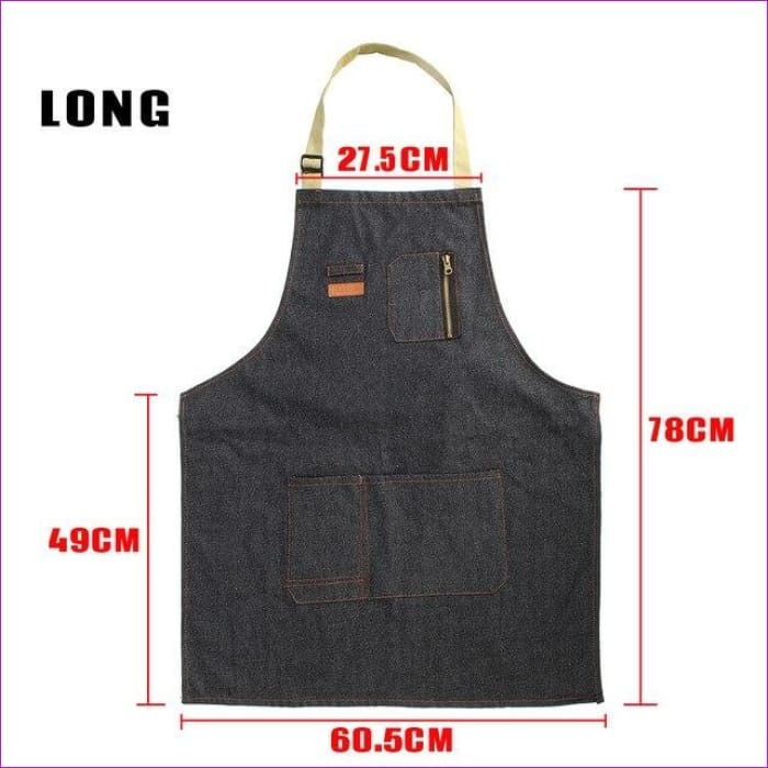 Halterneck BBQ Bib Home House Kitchen Coffee Shop Working Denim Apron w/2 Pouch - Long - BBQ Cooking BBQ Aprons