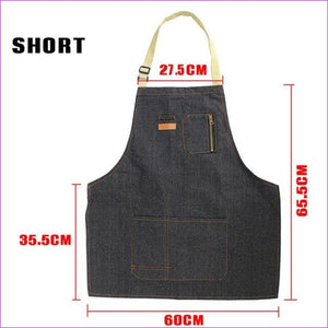 Halterneck BBQ Bib Home House Kitchen Coffee Shop Working Denim Apron w/2 Pouch - Short - BBQ Cooking BBQ Aprons