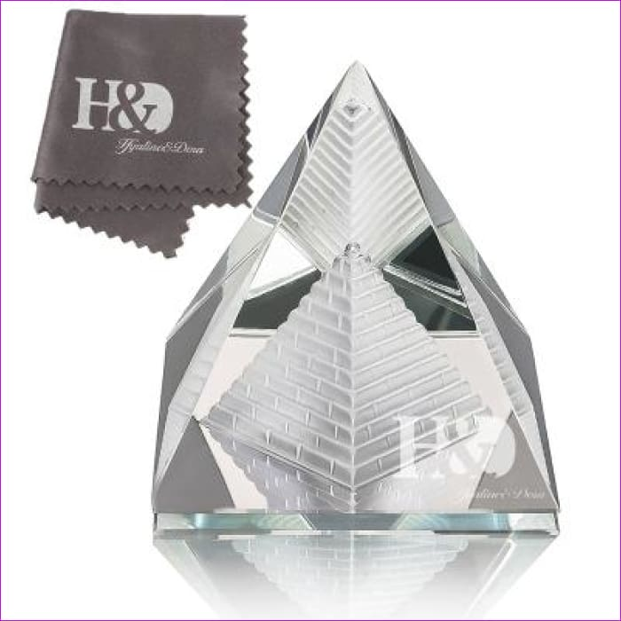 H&D 2 Egypt Egyptian Crystal Pyramid Paperweight in Gift BOX Energy Healing Feng Shui with Free Crystal Wipes Home Decor - Clear 2 - Wedding
